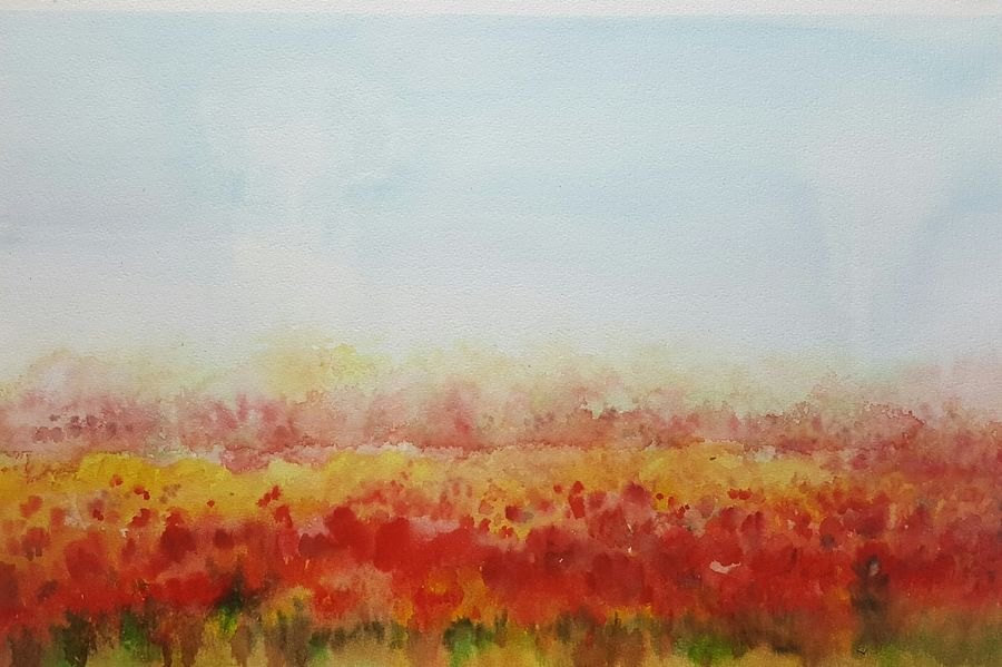 red carpet, 22 x 15 inch, bhanupratap khare,abstract paintings,paintings for living room,handmade paper,watercolor,22x15inch,GAL012963537