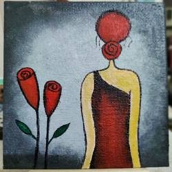 lady and roses, 4 x 4 inch, puspita datta,4x4inch,canvas board,paintings,figurative paintings,modern art paintings,conceptual paintings,minimalist paintings,pop art paintings,contemporary paintings,miniature painting.,paintings for dining room,paintings for living room,paintings for office,acrylic color,GAL01538635371