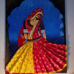 a beautiful indian dancing girl, 18 x 24 inch, shambhavi mishra mishra,18x24inch,canvas board,folk art paintings,paintings for dining room,paintings for bedroom,paintings for hotel,paintings for dining room,paintings for bedroom,paintings for hotel,acrylic color,GAL01966835373