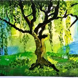 weeping tree, 20 x 20 inch, poonam upadhyay,20x20inch,ivory sheet,paintings,nature paintings | scenery paintings,paintings for living room,paintings for living room,acrylic color,GAL02389735379