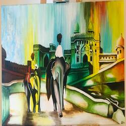 incredible culture, 36 x 18 inch, shilpa chavan,36x18inch,canvas,paintings,folk art paintings,acrylic color,GAL01899135388