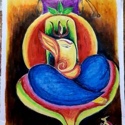 lord ganesha with lord shiva, 11 x 14 inch, nayan pal,11x14inch,drawing paper,paintings,ganesha paintings | lord ganesh paintings,paintings for dining room,paintings for living room,paintings for bedroom,pastel color,GAL02339935394