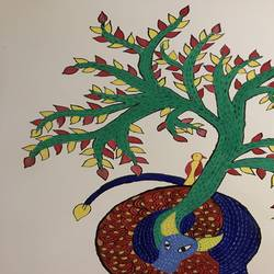 gond painting, 15 x 12 inch, tanesha gupta,15x12inch,drawing paper,paintings,folk art paintings,paintings for dining room,paintings for living room,paintings for bedroom,acrylic color,paper,GAL0355335396