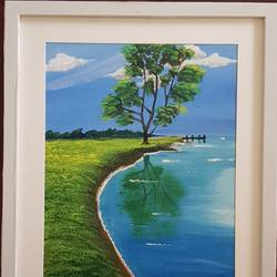 lone tree in spring , 12 x 16 inch, aslam shareef,12x16inch,canvas,paintings,landscape paintings,nature paintings | scenery paintings,paintings for dining room,paintings for living room,paintings for bedroom,paintings for office,paintings for school,paintings for hospital,acrylic color,GAL02378835397