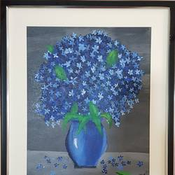 blue vase with blue flowers, 14 x 18 inch, aslam shareef,14x18inch,canvas,paintings,flower paintings,paintings for dining room,paintings for living room,paintings for bedroom,paintings for office,paintings for kids room,paintings for hotel,paintings for kitchen,paintings for school,paintings for hospital,acrylic color,GAL02378835398