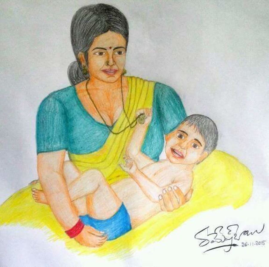 Buy Amma Mother And Baby Painting At Lowest Price By Karantothu Ramesh Babu