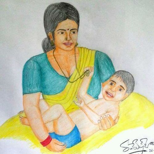 amma/mother and baby, 18 x 24 inch, karantothu rameshbabu,paintings for living room,figurative drawings,hardboard,watercolor,18x24inch,GAL0151354