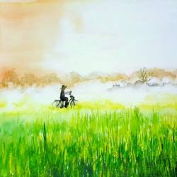 cycling, 15 x 11 inch, bhanupratap khare,landscape paintings,handmade paper,watercolor,15x11inch,GAL012963540