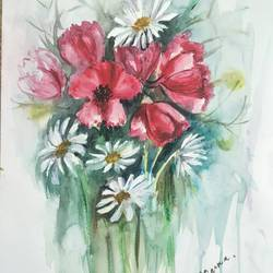 floral bliss, 14 x 19 inch, aparna chatterjee,14x19inch,thick paper,paintings,flower paintings,paintings for living room,watercolor,paper,GAL02394735403