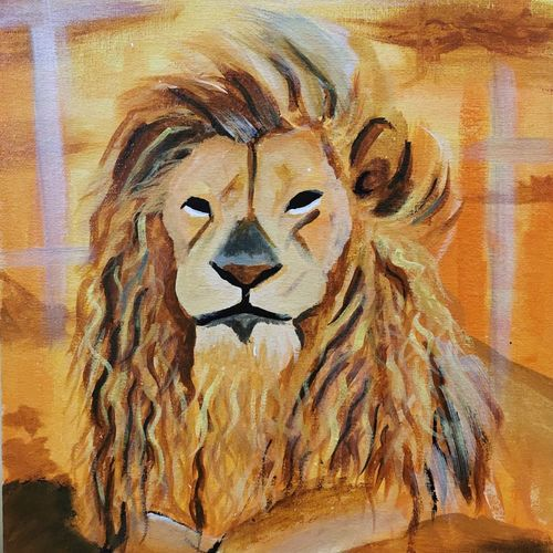 the lion king, 10 x 14 inch, vindhya acharya,10x14inch,canvas,paintings,abstract paintings,wildlife paintings,figurative paintings,still life paintings,art deco paintings,animal paintings,paintings for dining room,paintings for living room,paintings for bedroom,paintings for office,paintings for kids room,paintings for hotel,paintings for school,paintings for hospital,acrylic color,GAL02394635405