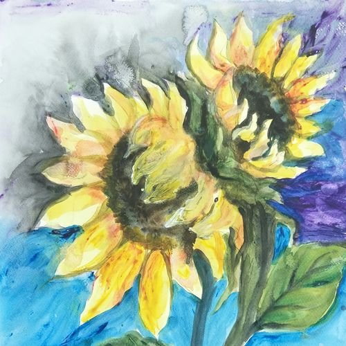 sunflower, 14 x 19 inch, aparna chatterjee,14x19inch,thick paper,paintings,flower paintings,paintings for bedroom,paintings for office,paintings for kids room,watercolor,paper,GAL02394735406