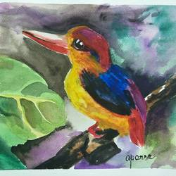 oriental dwarf kingfisher, 12 x 16 inch, aparna chatterjee,12x16inch,thick paper,animal paintings,paintings for living room,paintings for kids room,paintings for hotel,paintings for school,paintings for hospital,paintings for living room,paintings for kids room,paintings for hotel,paintings for school,paintings for hospital,watercolor,paper,GAL02394735409