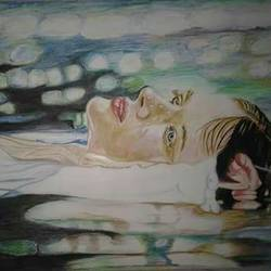floating lady, 17 x 12 inch, parul srivastava,figurative paintings,paintings for living room,thick paper,watercolor,17x12inch,GAL012893541