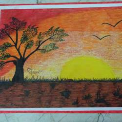 sunset beauty, 13 x 9 inch, jyoti kumari,13x9inch,drawing paper,paintings,landscape paintings,nature paintings | scenery paintings,art deco paintings,paintings for dining room,paintings for living room,paintings for bedroom,paintings for hotel,acrylic color,natural color,pen color,GAL02373935416