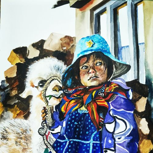 a bolivian child with alpaca, 14 x 19 inch, aparna pandey,14x19inch,thick paper,paintings,figurative paintings,portrait paintings,expressionism paintings,impressionist paintings,paintings for dining room,paintings for living room,paintings for bedroom,paintings for office,paintings for kids room,paintings for hotel,watercolor,paper,GAL02394735418