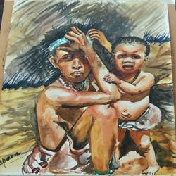 the bushman tribe of namibia, 15 x 22 inch, aparna pandey,15x22inch,thick paper,paintings,portrait paintings,realistic paintings,kids paintings,paintings for living room,paintings for office,watercolor,paper,GAL02394735421