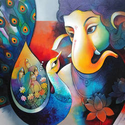 ganesha 5, 40 x 30 inch, sanjay  tandekar ,40x30inch,canvas,paintings,religious paintings,ganesha paintings | lord ganesh paintings,contemporary paintings,paintings for dining room,paintings for living room,paintings for bedroom,paintings for office,paintings for hotel,acrylic color,GAL0281035429