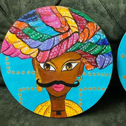 rajesthan pride ( set of 2) round, 12 x 12 inch, tinku surana,12x12inch,canvas,paintings,figurative paintings,folk art paintings,pop art paintings,paintings for dining room,paintings for living room,paintings for bedroom,paintings for hotel,paintings for dining room,paintings for living room,paintings for bedroom,paintings for hotel,acrylic color,GAL02212035432