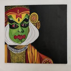 kathakali performer painting, 10 x 12 inch, rachana r karanik,10x12inch,canvas board,paintings,conceptual paintings,acrylic color,GAL02395335433