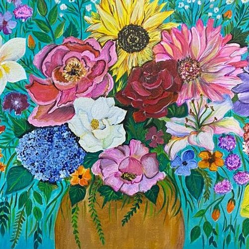 flower that bloom, 24 x 18 inch, tinku surana,24x18inch,canvas,paintings,flower paintings,nature paintings | scenery paintings,paintings for dining room,paintings for living room,paintings for bedroom,paintings for hotel,acrylic color,GAL02212035434