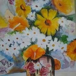 flowers, 12 x 17 inch, parul srivastava,flower paintings,paintings for living room,thick paper,watercolor,12x17inch,GAL012893544