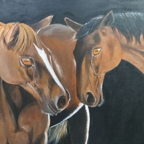 two horses, 24 x 36 inch, shankha mitra,24x36inch,canvas,paintings,wildlife paintings,horse paintings,paintings for dining room,paintings for living room,paintings for office,paintings for hotel,acrylic color,GAL02246935441