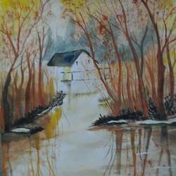 water reflection, 12 x 17 inch, parul srivastava,landscape paintings,paintings for living room,thick paper,watercolor,12x17inch,GAL012893545