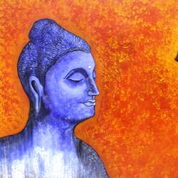 nirvana, 40 x 30 inch, sreya gupta,buddha paintings,religious paintings,paintings for living room,paintings for office,canvas,acrylic color,40x30inch,religious,peace,meditation,meditating,gautam,goutam,buddha,blue,orange,side face,smiling,GAL02593546