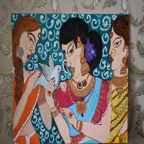 friends painting , 24 x 30 inch, dr vaishali k,24x30inch,canvas board,paintings,modern art paintings,art deco paintings,expressionism paintings,paintings for living room,paintings for bedroom,paintings for office,paintings for hotel,acrylic color,GAL02400335460