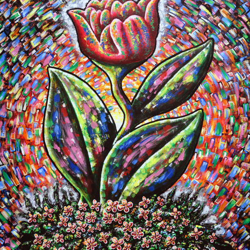 the morning tulip, 30 x 40 inch, samit kamar,30x40inch,canvas,paintings,abstract paintings,paintings for dining room,paintings for living room,paintings for bedroom,paintings for office,paintings for hotel,acrylic color,GAL0443435463