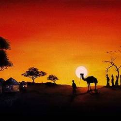desert sunset, 24 x 12 inch, shobin george,24x12inch,canvas,paintings,landscape paintings,nature paintings | scenery paintings,realism paintings,animal paintings,realistic paintings,paintings for dining room,paintings for living room,paintings for bedroom,paintings for office,paintings for bathroom,paintings for kids room,paintings for hotel,paintings for kitchen,paintings for school,paintings for hospital,acrylic color,fabric,GAL02366335468