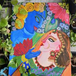 radha krishna painting, 15 x 11 inch, dr vaishali k,15x11inch,canvas board,paintings,religious paintings,art deco paintings,radha krishna paintings,love paintings,paintings for dining room,paintings for living room,paintings for bedroom,paintings for hotel,acrylic color,GAL02400335474