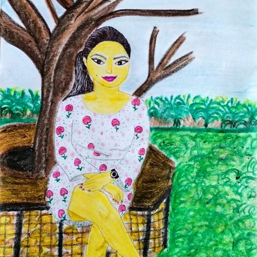 girl art, portrait, 12 x 16 inch, suchismita singha,12x16inch,paper,paintings,figurative paintings,paintings for dining room,paintings for living room,paintings for bedroom,pastel color,GAL02400835477