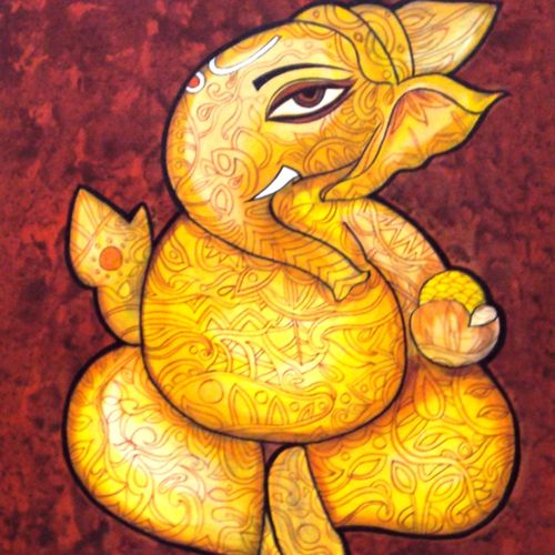 prosperity , 24 x 30 inch, sreya gupta,religious paintings,paintings for living room,canvas,acrylic color,24x30inch,GAL02593549