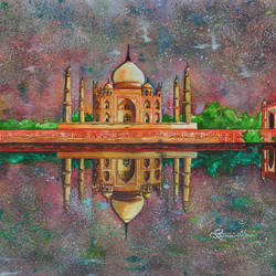taj mahal, 30 x 23 inch, samit kamar,30x23inch,handmade paper,cityscape paintings,paintings for living room,paintings for office,paintings for hotel,paintings for living room,paintings for office,paintings for hotel,watercolor,GAL0443435495