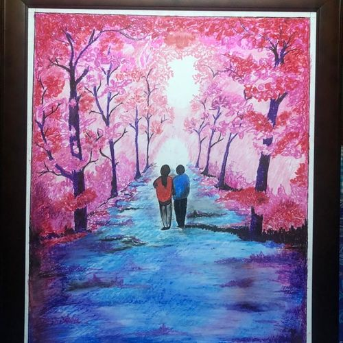 a romantic couple, 22 x 28 inch, surabala mishra,22x28inch,thick paper,paintings,paintings for bedroom,pastel color,GAL02271335498