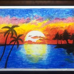 nature's beauty of sun set, 28 x 22 inch, surabala mishra,28x22inch,thick paper,paintings,landscape paintings,paintings for office,paintings for hotel,pastel color,GAL02271335500