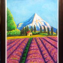 a beautiful hillside view  , 22 x 28 inch, surabala mishra,22x28inch,thick paper,paintings,landscape paintings,pastel color,GAL02271335501