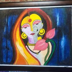 beautiful indian woman, 28 x 22 inch, surabala mishra,28x22inch,thick paper,paintings,folk art paintings,paintings for living room,paintings for office,paintings for hotel,pastel color,GAL02271335502