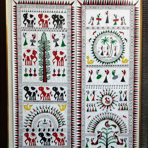 warli art, 11 x 28 inch, parul singare,11x28inch,ivory sheet,paintings,warli paintings,paintings for dining room,paintings for living room,paintings for office,paintings for hotel,paintings for school,paintings for hospital,acrylic color,GAL02400635508