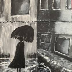 girl walking home in the rain, 16 x 24 inch, azima poonawala ,16x24inch,canvas,paintings,abstract paintings,acrylic color,GAL02404335513
