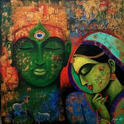 love saga, 36 x 36 inch, arjun das,36x36inch,canvas,paintings,figurative paintings,religious paintings,radha krishna paintings,love paintings,paintings for living room,paintings for office,paintings for hotel,paintings for hospital,acrylic color,GAL011235518