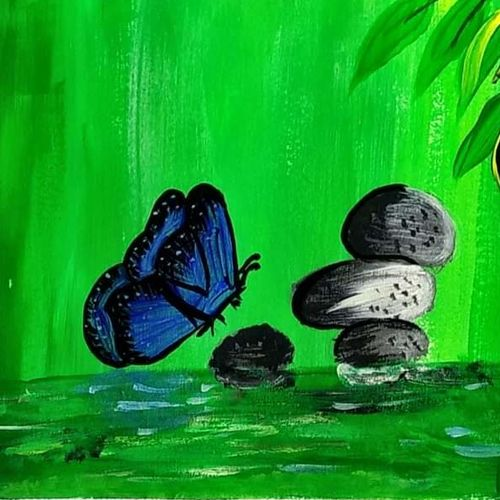 butterfly, 10 x 8 inch, poonam upadhyay,10x8inch,ivory sheet,paintings,nature paintings | scenery paintings,paintings for bedroom,acrylic color,GAL02389735520