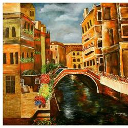 venice, 36 x 36 inch, sanjana sharma,36x36inch,canvas,paintings,abstract paintings,cityscape paintings,paintings for dining room,paintings for living room,paintings for office,paintings for hotel,paintings for dining room,paintings for living room,paintings for office,paintings for hotel,oil color,GAL02405735525