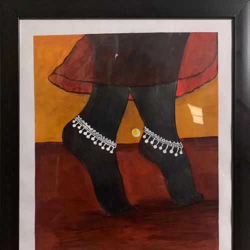 dancing feet, 12 x 18 inch, anita  yadav,12x18inch,thick paper,drawings,modern drawings,portrait drawings,paintings for dining room,paintings for living room,paintings for bedroom,paintings for office,paintings for hotel,paintings for hospital,pastel color,watercolor,graphite pencil,paper,GAL02348435527