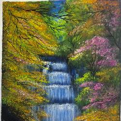 waterfall - foliage , 10 x 12 inch, lisa serene,10x12inch,canvas,paintings,flower paintings,landscape paintings,water fountain paintings,paintings for dining room,paintings for living room,paintings for bedroom,paintings for office,paintings for bathroom,paintings for kids room,paintings for hotel,paintings for kitchen,paintings for school,paintings for hospital,paintings for dining room,paintings for living room,paintings for bedroom,paintings for office,paintings for bathroom,paintings for kids room,paintings for hotel,paintings for kitchen,paintings for school,paintings for hospital,acrylic color,GAL01951235532