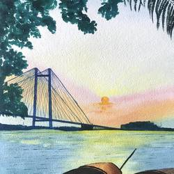 kolkata, 10 x 14 inch, aparajita mandal,10x14inch,handmade paper,paintings,cityscape paintings,paintings for living room,paintings for bedroom,paintings for hotel,paintings for hospital,watercolor,GAL01914635537