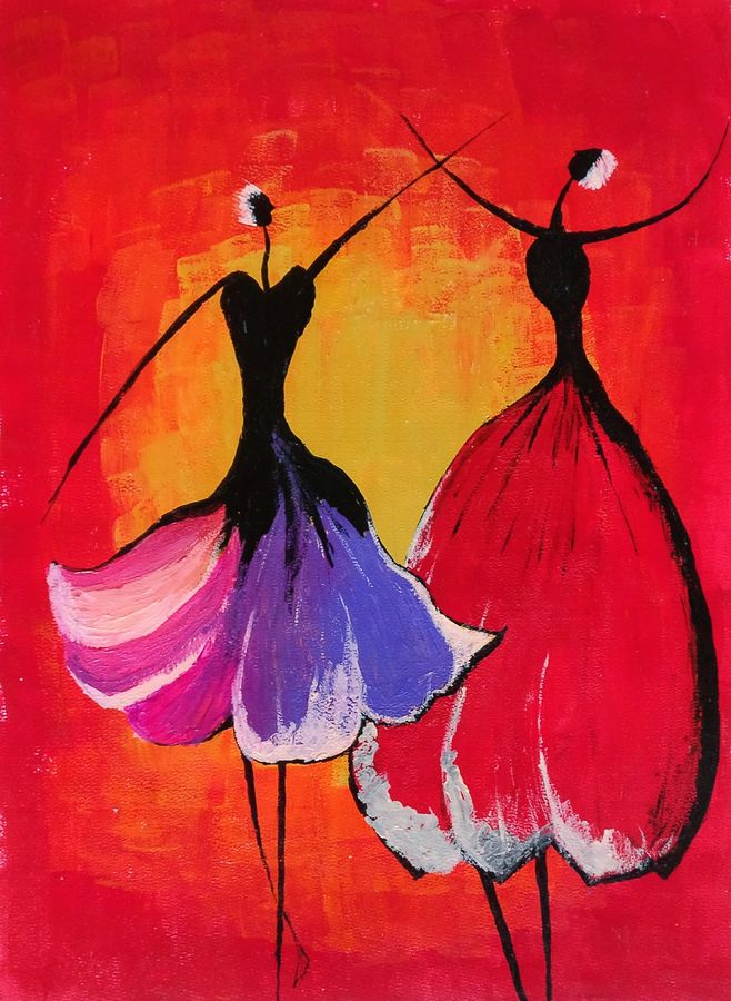 the dance, 12 x 16 inch, bala paavani pillalamarri,modern art paintings,paintings for living room,thick paper,acrylic color,12x16inch,GAL012993554