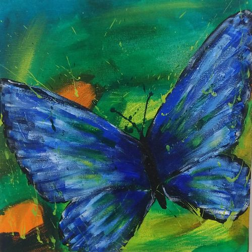 beautiful butterfly acrylic painting, 12 x 12 inch, sumit solanki,12x12inch,canvas,paintings,paintings for dining room,paintings for living room,paintings for bedroom,paintings for office,paintings for kids room,paintings for hotel,paintings for kitchen,paintings for school,paintings for hospital,acrylic color,GAL02407635540