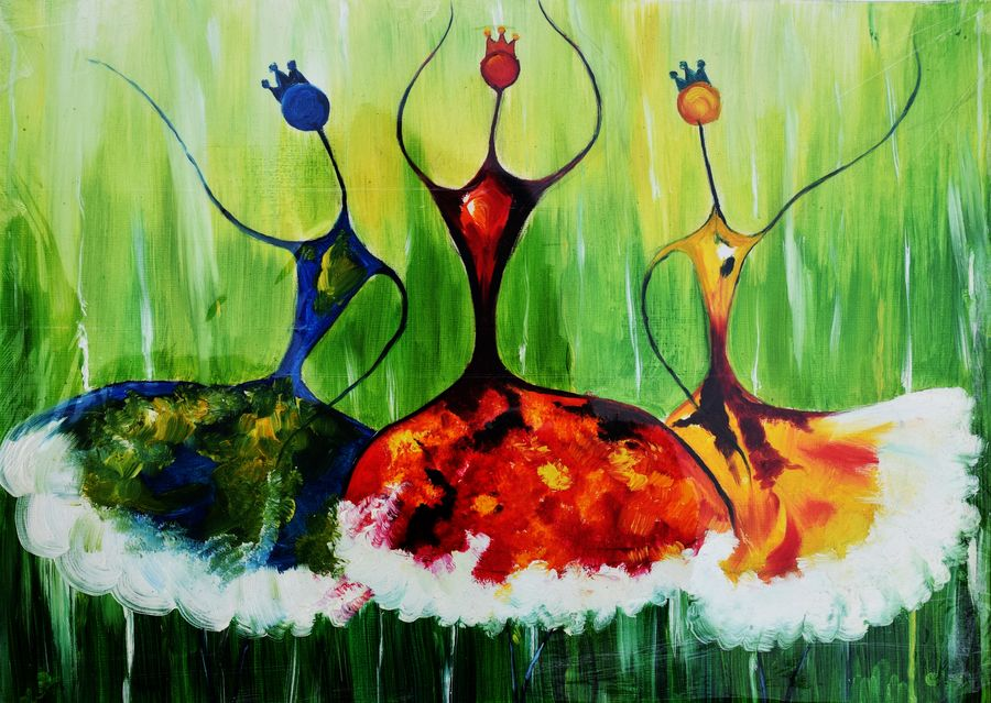 dancing dolls, 14 x 11 inch, archana singh,abstract paintings,paintings for dining room,thick paper,oil,14x11inch,GAL011723555